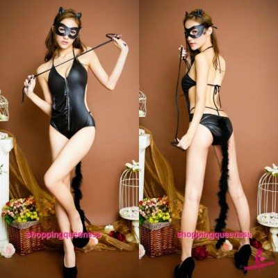 Black Cat Woman Teddies Cosplay Costume Party Dress Sexy Lingerie TS6661