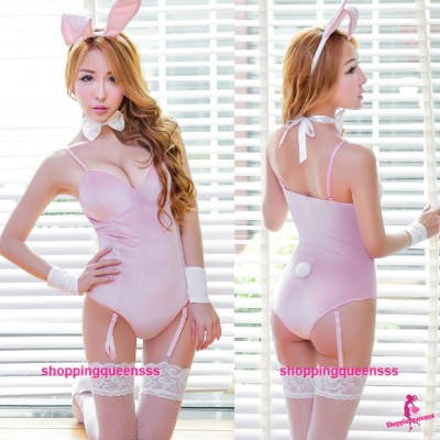 Pink Rabbit Suit + Garter Belt Cosplay Costume Sleepwear Sexy Lingerie H6186