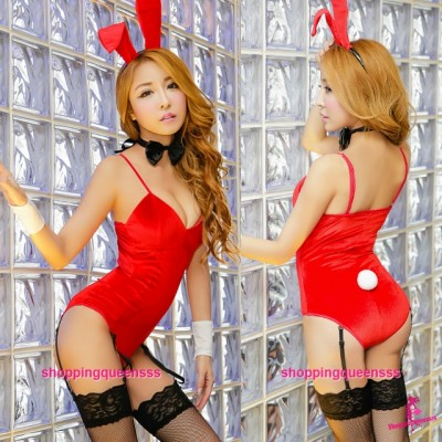 Red Rabbit Suit + Garter Belt Cosplay Costume Sleepwear Sexy Lingerie H6186