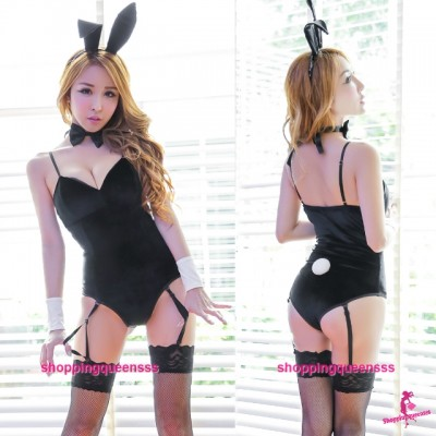 Black Rabbit Suit + Garter Belt Cosplay Costume Sleepwear Sexy Lingerie H6186