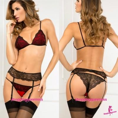 Lace Bra + Garter Belt + G-String Bikini Sleepwear Sexy Lingerie Nightwear M5543