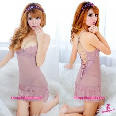 Mauve Lace Low-Cut Thong Back Babydoll Dress Sexy Lingerie Pajamas M4404