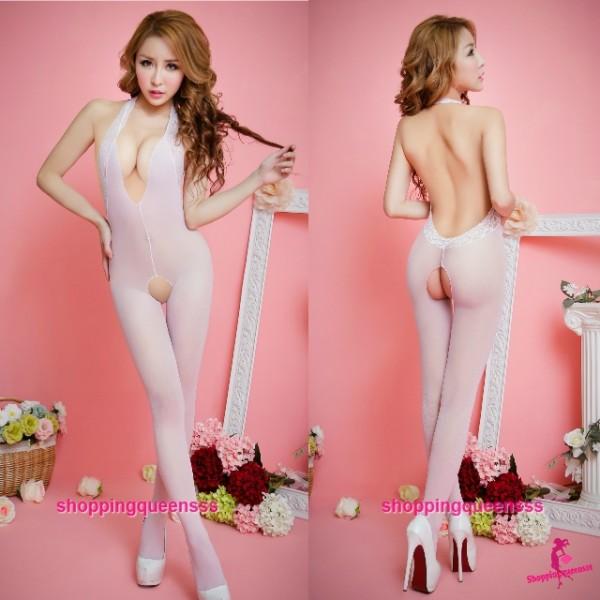 Body Stocking Pink Open Crotch Hosiery Sexy Lingerie Night Sleepwear TS312