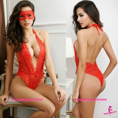 Eye Mask + Red Deep V Halter Teddies Sexy lingerie Sleepwear Costume M6679