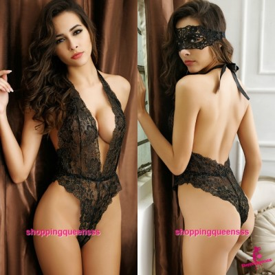 Eye Mask + Black Deep V Halter Teddies Sexy lingerie Sleepwear Costume M6679