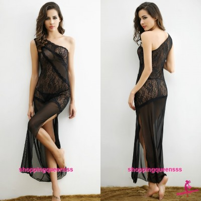 Black Lace Sloping Shoulder Long Dress + G-String Sexy Lingerie Sleepwear M6622