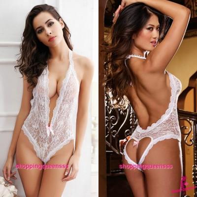 White Lace Halter Open Crotch Teddies Sleepwear Sexy Lingerie Pajamas M5514