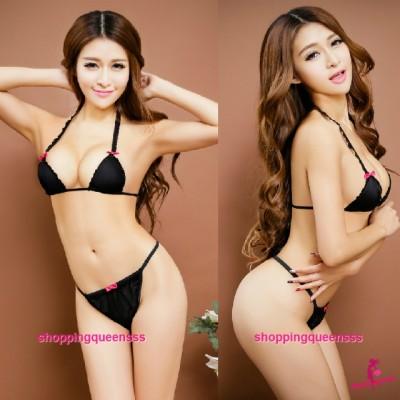 Black Bikini Set Bra G-String Sexy Lingerie Sleepwear Nightwear TS1044
