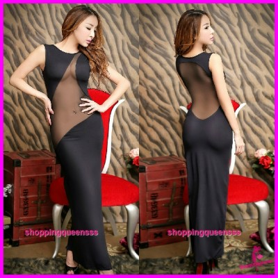Sexy Lingerie Black See-Through Long Dress Clubwear Partywear Nightwear H8828