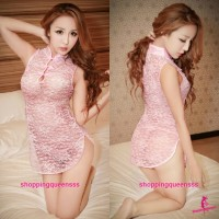 Pink Lace Cheongsam Dress + G-String Costume Sleepwear Sexy Lingerie H6075