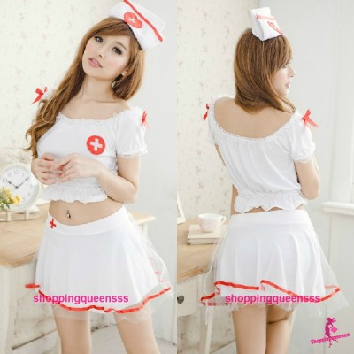 White Nurse Uniform Dress Costume Cosplay Sexy Lingerie Q8064