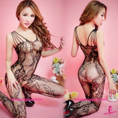 Black Fishnet Body Stocking Mesh Open Crotch Hosiery Sexy Lingerie WL47