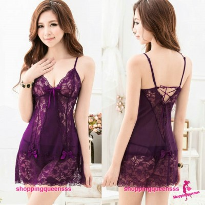 Purple Lace Babydoll Dress  + G-String Sexy Lingerie Pajamas Sleepwear Nightwear TS8038