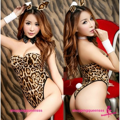 Leopard Print Rabbit Teddies Set Cosplay Costume Sleepwear Sexy Lingerie H6160