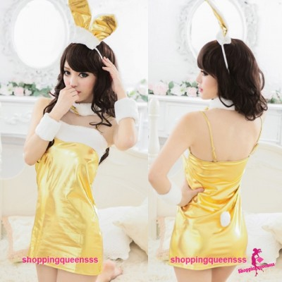 Christmas Golden Rabbit Girl Cosplay Costume Party Dress Sexy Lingerie Q8135