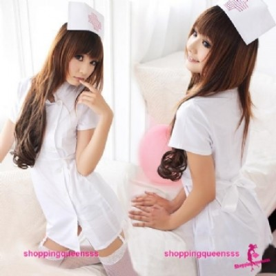 White Nurse Uniform Cosplay Costume Nightwear Sleepwear Sexy Lingerie Q8028