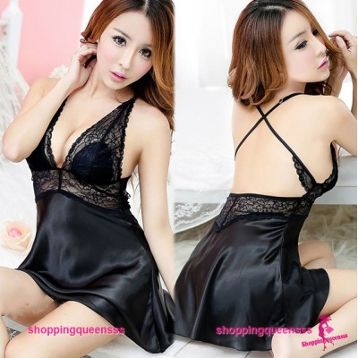 Black Lace Satin Babydoll Dress + G-String Sleepwear Sexy Lingerie H6166