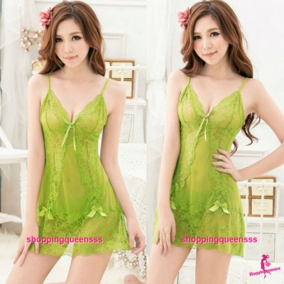 Green Lace Babydoll Dress + G-String Sleepwear Sexy Lingerie Pajamas TS8038