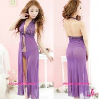 See-Through Long Babydoll Dress + G-String Sexy Lingerie Sleepwear Pajamas M5558