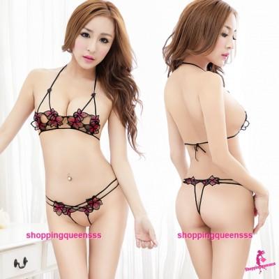 Bikini Flower Bra + Open Crotch Panties Sexy Lingerie Sleepwear Pajamas M2013