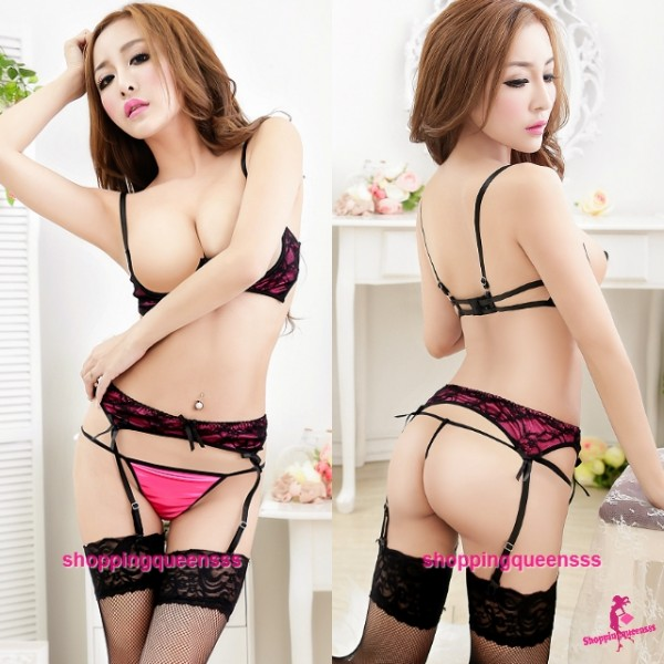 Rose-Red Open Breast Bra G-String Garter Belts Bikini Sleepwear Sexy Lingerie M8999