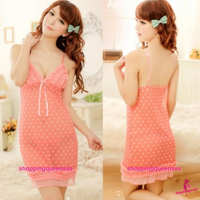 Babydoll Sling Dress + G-String Sleepwear Sexy Lingerie Pajamas M8961