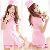 Pink Nurse Uniform Cosplay Costume Nightwear Sleepwear Sexy Lingerie Q8028