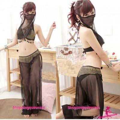 Black Bra + Pants + Panties + Mask Costume Sleepwear Sexy Lingerie Q02