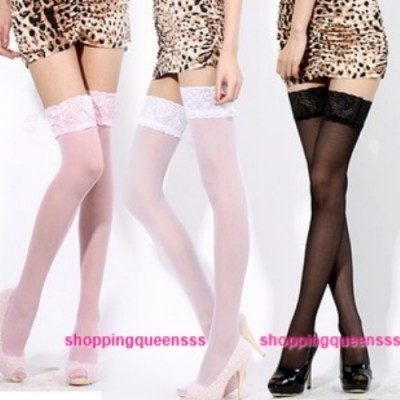 Sexy Women Lace Top Over The Knee High Socks Thigh High Stocking Lingerie (5 Colors) Q101