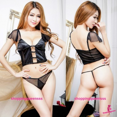 Black Top + G-String Sexy Lingerie Sleepwear Nightwear Costume M7751