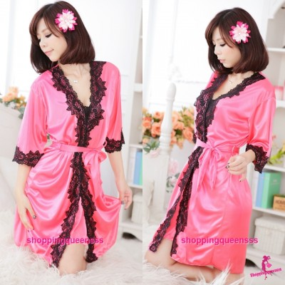 Watermelon-Red Satin Silky Surface Robes Pajamas Sleepwear Sexy Lingerie M7055