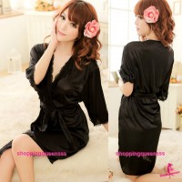 Black Satin Robes Nightwear Sleepwear Sexy Lingerie Pajamas M7055