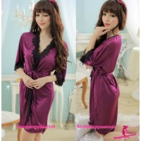 Purple Satin Silky Surface Sleepwear Robes Women Nightwear Sexy Lingerie M7055