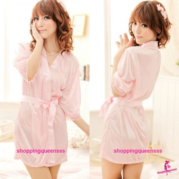 Pink Satin Silky Surface Pyjamas Sleepwear Robes + G-String Sexy Lingerie W7039