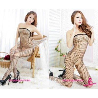 Fishnet Body Stocking Black Open Crotch Hosiery Sexy Lingerie Costume WL244