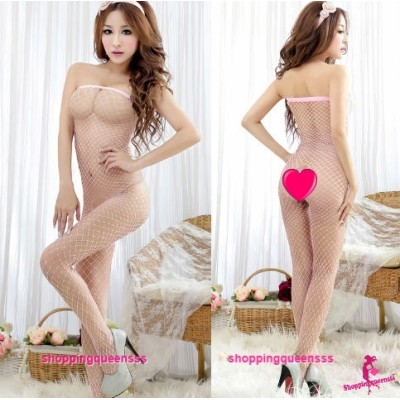 Fishnet Body Stocking Pink Open Crotch Hosiery Sexy Lingerie Costume WL244