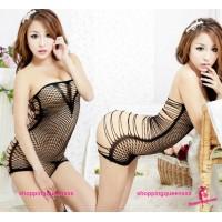 Black Fishnet Body Stocking Thong Dress Sexy Lingerie Costume SLeepwear WL34