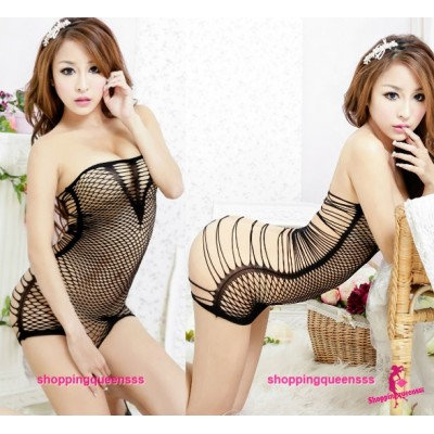 Black Fishnet Body Stocking Thong Dress Sexy Lingerie Costume SLeepwear WL34