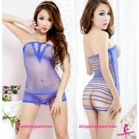 Blue Fishnet Body Stocking Thong Dress Sexy Lingerie Costume Nightwear WL34