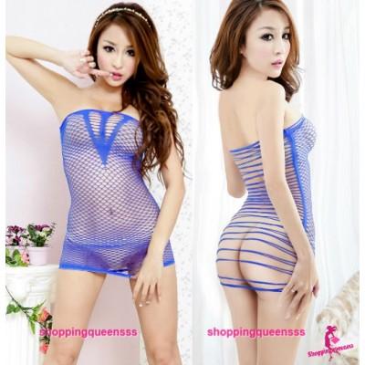 Blue Fishnet Body Stocking Thong Dress Sexy Lingerie Costume Nightwear WL34
