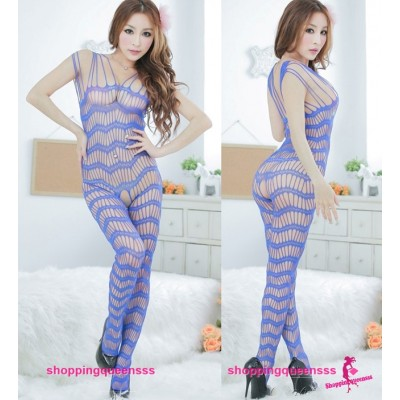 Sexy Lingerie Fishnet Body Stocking Costume Blue Open Crotch Sleepwear WL26