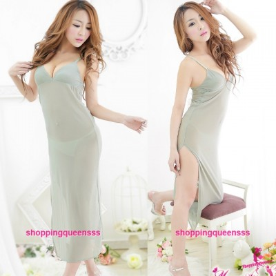 Green Sling See-Through Babydoll Long Dress G-String Sleepwear Sexy Lingerie M5574