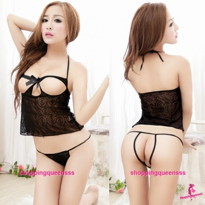 Black Open Breast Top + Open Crotch Panties Sexy Lingerie Sleepwear M5553