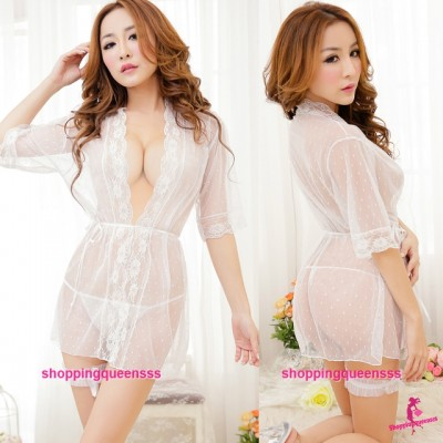 White See-Through Sexy Lingerie Sleepwear Pajamas Robes + G-String M5510