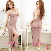 Mauve Sling Pajamas Babydoll Long Dress G-String Sexy Lingerie Sleepwear M5098