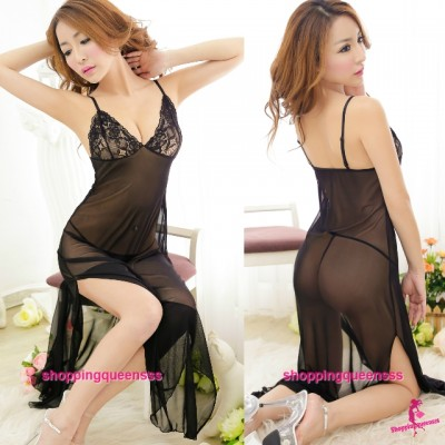 Black Babydoll Long Dress + G-String Sexy Lingerie Pajamas Sleepwear M5098
