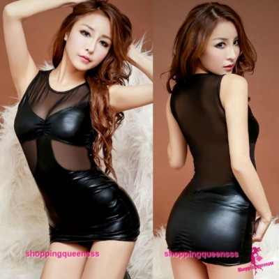Black Tight Clubwear Party Dress Costume Sleep Nightwear Sexy Lingerie H8811