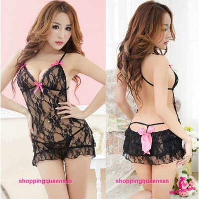 Black Lace Backless Babydoll Dress G-String Sexy Lingerie Sleepwear M5027