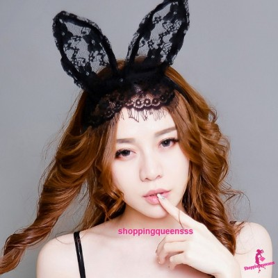 Lace Veil Rabbit Ears Hair Band Costume Partywear Sexy. Lingerie Accessories TSM005