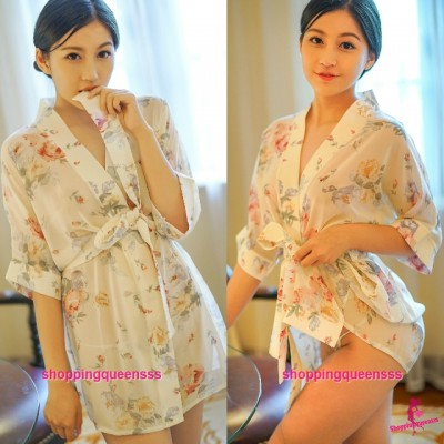 Creamy-White with Flowers Japanese Robes G-String Sleepwear Sexy Lingerie Pajamas H6203